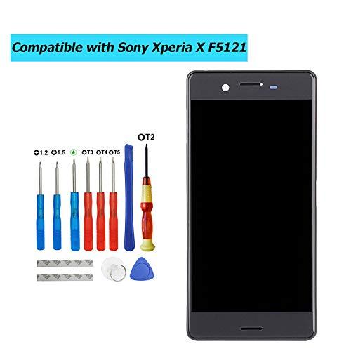 Upplus - Pantalla LCD de Repuesto Compatible con Sony Xperia X F5121, con Marco y Juego de Herramientas (Negro)
