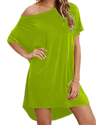 SLYZ Mujeres Europeas Y Americanas Verano Nuevo De Gran Tamaño Color Caramelo Falda De La Camiseta Vestido Suelto Mujeres