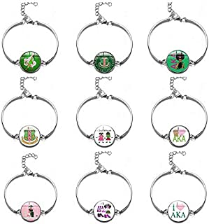 Astra Gourmet Set of 9 AKA Sorority Paraphernalia Bracelet - AKA Sorority Gifts Graduation Gifts AKA Jewelry for Women Girls