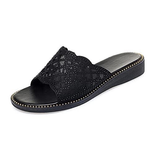 ypyrhh Zapatillas de Moda de Verano,Pendiente de Desgaste exógeno con Sandalias,Sandalias de Cuero Suaves de Mediana Edad-Negro_41,Zapatillas de Casa