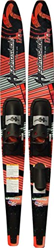 Nash Hydroslide Legend Adult Deluxe Waterskies, Red/Black/Gray/White