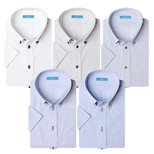 (アトリエ 365) 半袖 ワイシャツ 5枚セット クールビズ ビジネス イージーケア 形態安定 Yシャツ/sa02-ats-L-41-SA02-Dset-SS-19