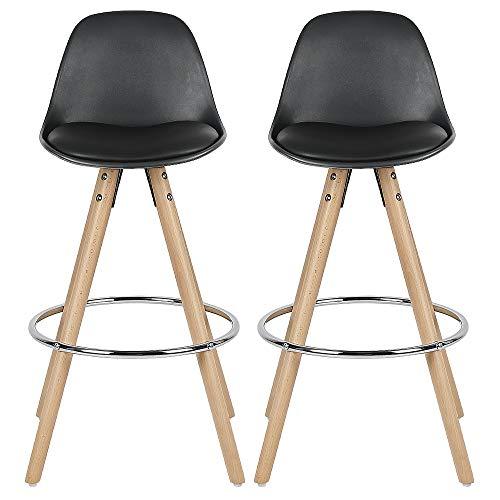 Set van 2 barkrukken, poten van beukenhout, met houten voetsteun (zwart)