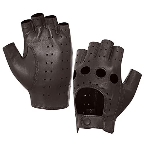 Harssidanzar Damen Halbfinger Lederhandschuhe für fahren Fingerlose Lammfell ungefüttert Handschuhe,Braun,Größe M