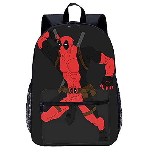 PAWANG Mochila escolar Deadpool Mochila escolar de dibujos animados impresa en 3D, adecuada para niños, estudiantes de primaria y secundaria