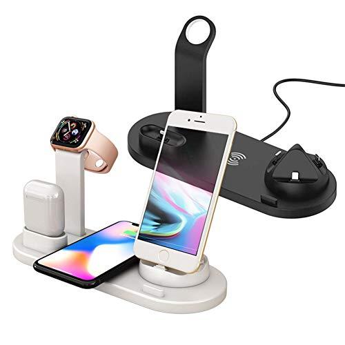 Cargador inalámbrico de 2 piezas, estación de acoplamiento 3 en 1 con base de carga, compatible con iPhone 11 Pro Xs Xr X 8 y Samsung S10 S9 y Apple Watch