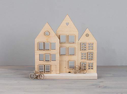 Rayher 62891505 Holzmotiv Häuser, FSCMixCred, Natur, 15,1x18,8cm, 18-tlg, SB-Btl 1Set