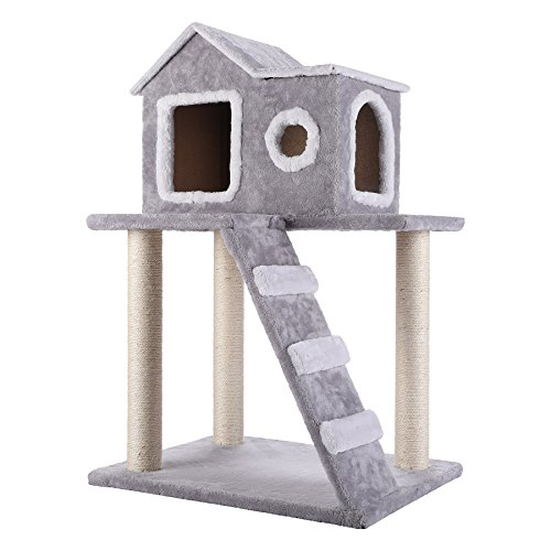 Z ZELUS Kratzbaum SAMS Pet Katzenbaum Sisal Kletterbaum Katzen Katzenkratzbaum Spielbaum Kletterbaum Katzenmöbel Spielhaus Spielzeug für Katzen (Groß)