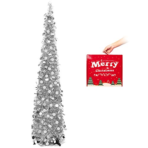MACTING 5ft Pop up Christmas Tinsel Tree with Stand Easy-Assembly Tinsel Coastal Glittery Christmas Tree for Holiday Xmas Decorations (Silver)