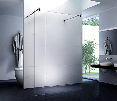 Freistehende Duschwand (Rundestange) Walk in Duschabtrennung Dusche Glasscheibe Seitenwand Diwa Clear 10mm ESG-Sicherheitsglas Klarglas 150x200 cm