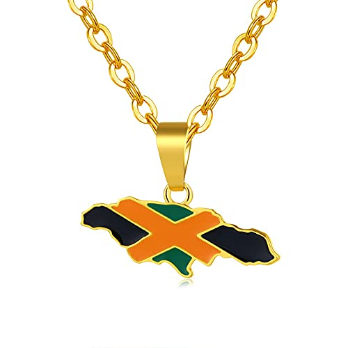YUANYIRAN Mapa De Jamaica Collares Colgantes - Patriótico Encanto Étnico África Mapa Bandera Collares,Oro Color Clásico Hip Hop Joyería para Mujeres Hombres Tendencia Fiesta Regalo