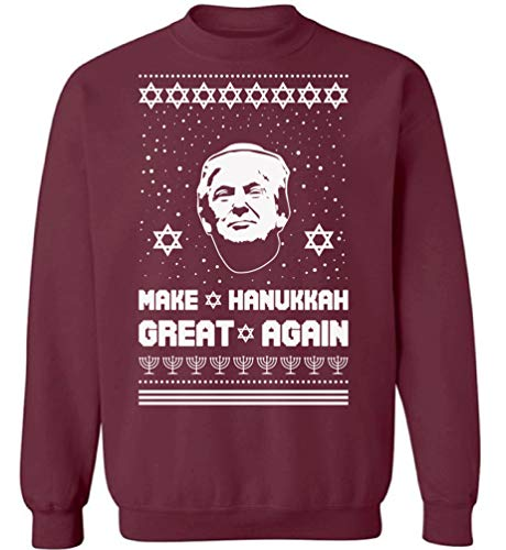 Pekatees Ugly Xmas Sweatshirt Xmas Make Hanukkah Great Donald Trump Christmas Sweater Maroon S