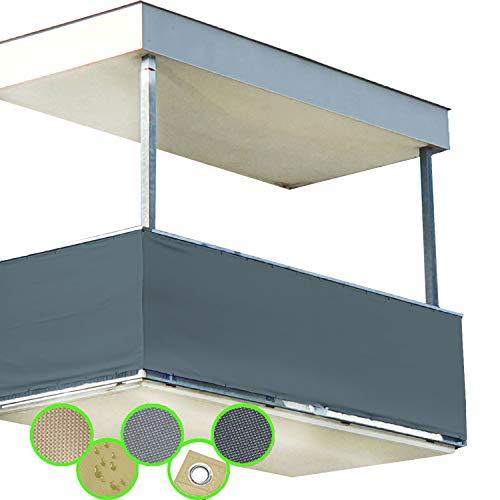 freigarten.de Balkon Sichtschutz PB2 PES blickdichte Balkonumspannung 90x500 cm - Anthrazit - mit Ösen und Kordel - in div. Größen & Farben (90x300 cm (H x B), Anthrazit)