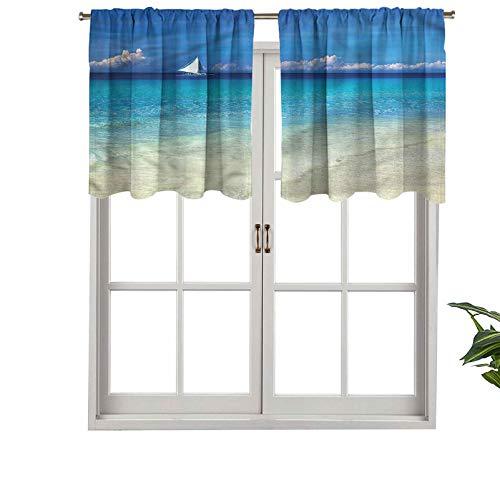 Hiiiman Cenefa recta, panel de cortina de alta calidad, con bolsillo para barra, vista exótica a la orilla del mar, juego de 2, 42 x 24 pulgadas, ideal para cualquier habitación y dormitorio
