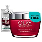 Olay Regenerist Micro-Sculpting Cream Face Moisturizer with Hyaluronic Acid & Vitamin B3+, Fragrance-Free, 1.7 Ounce + Whip Face Moisturizer Travel/Trial Size Gift Set