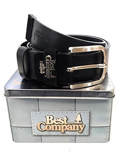 Best Company herenriem van leer in geschenkdoos met metalen doos. 4 cm zwart (art. 914/40).