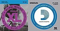 【1セット+1弦バラ x2本】D'Addario EXL120 + PL009 x 2本 Super Light (09-42)【国内正規品】