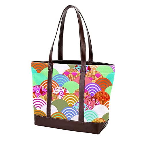 Bolso de compras con correa de peso ligero, bolsos japoneses con forma de abanico y flor de cerezo para madres, mujeres, niñas, señoras, bolso de mano para estudiantes, bolsos de hombro