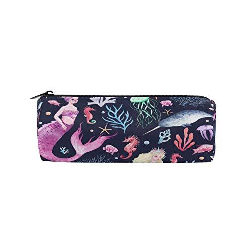 IOPLK Kulturbeutel runde Federmäppchen Kosmetiktasche Federmäppchen Seahorse Couple Love Pencil Bag Pen Case Students Stationery Pouch Zipper Bag for Girls Boys Kids