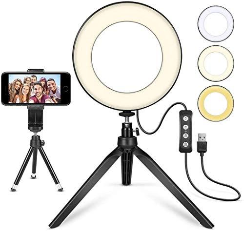 XXT Ring Light Live Round Fill Light 6 pulgadas LED Ring Light con anillo Stand Desktop LED Light