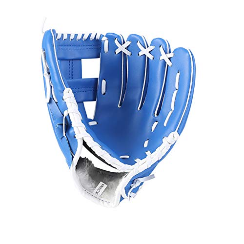 Riveryy Guante de Béisbol Guantes Deportivos de Bateo Guante de Softbol con Cuero de PU Suave Engrosamiento Guante de Béisbol Fielders Guante de 12.5 Pulgadas para Jóvenes Adultos (Azul)