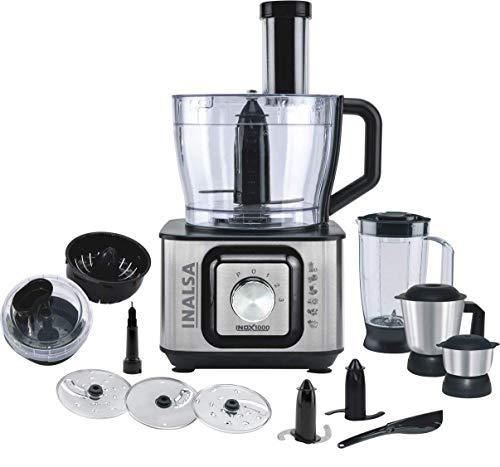 (Renewed) Inalsa INOX 1000-Watt Food Processor (Black/Silver)
