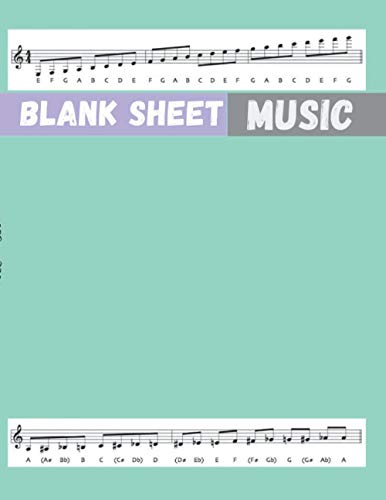 Blank Sheet Music SATB Vocal Score Music Paper, Aquamarine cover, 100 pages - Large(8.5 x 11 inches)