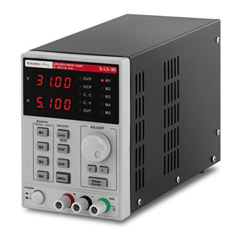 Stamos Soldering Alimentatore da Banco Alimentatore Corrente Continua S-LS-30 (250 W, 230 V, Schermo LED, 4 memorie)
