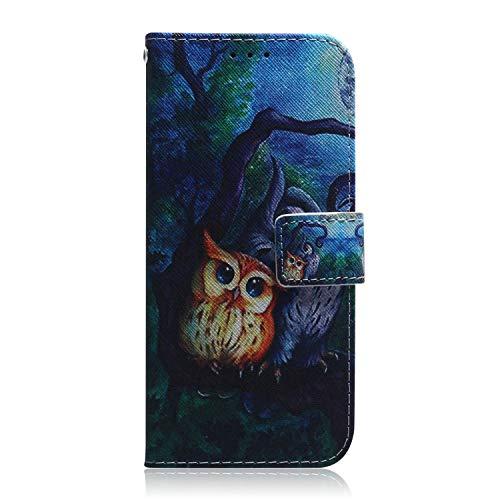 Nokia 3.1 Plus Hülle Handyhülle für Nokia 3.1 Plus Lederhülle Hülle Cover Tasche Flipcase Schutzhülle Handytasche Ständer Magnet Geldbörse Kartenfach Klapphülle, Eule