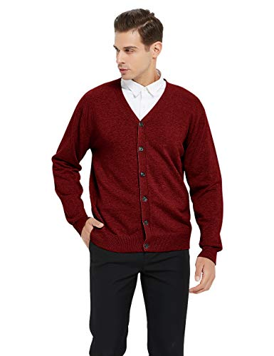 TOPTIE Men's Casual Fit V-Neck Cotton Sweater Cardigan-Red-XL