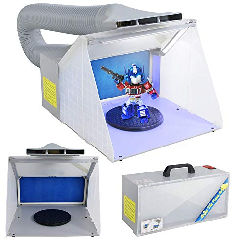 F2C Airbrush Spray Booth Kit Paint Craft Odor Extractory Hobby Spray Booth Portable w/LED Light Turn Table Powerful Fan For Toy Model Parts