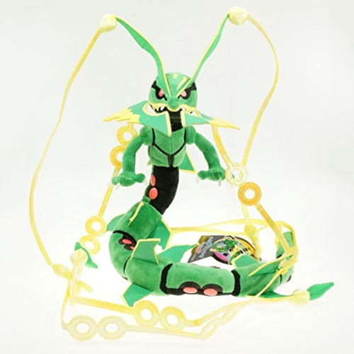 Kioiien Anime Stuffed Toy Green Shiny Mega Rayquaza Plush Toys Stuffed Children Kids Gifts Soft Doll Birthday Cute Soft Doll Decoration Car Decoration 83cm
