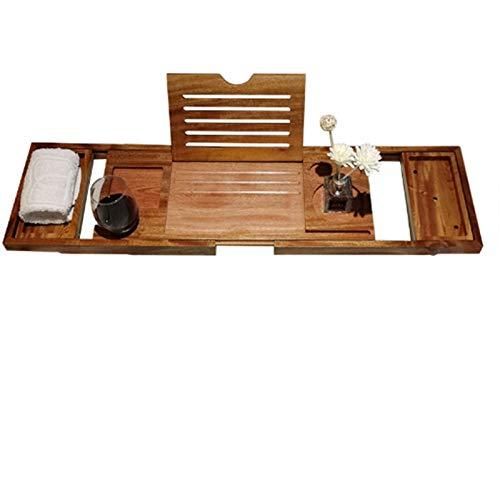 Estante de madera para bañera con estante para bañ Tabla de estante telescópica de bañera, con soporte plegable para placa plana, soporte de almacenamiento de madera maciza resistente a la placa, anti