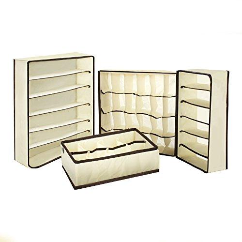 CAOLATOR 4-teilig Aufbewahrung Aufbewahrungsbox, faltbar, gut verstaut Praxis Tasche Schublade für sous-vètements/Höschen/Kopftuch/Lingerie/BH/Socken und anderen Organizer Zubehör de Lingerie platzspa
