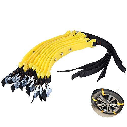 Jadeshay Chaine Neige - Chaînes à neige Ceinture de pneu universelle Chaînes à pneus antidérapantes Accessoires de sécurité pour pneus de voiture 185-225mm pour camion de voiture SUV, 10...
