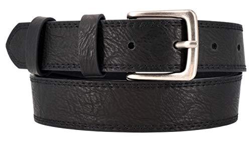 Cinturón vegano con hebilla metálica mate para niños en guardería y escuela primaria (paso de ventilación 57-72 cm, cinturón 65 cm), color negro con superficie estructurada