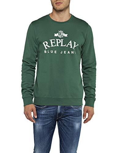 Replay Herren M3795 .000.21842 Sweatshirt, Grün (Forest Green 837), Large (Herstellergröße: L)