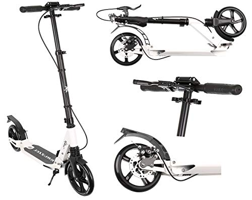 Kruzzel Roller Kickscooter Tretroller Cityroller ABEC9 Gummiräder Höhenverstellbar 10285, Farbe:Weiß