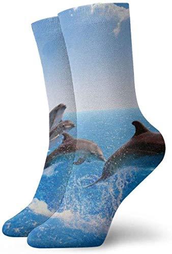 QUEMIN Cute Dolphin Blue Lightweight Transpirable Ventilación Tobillo Calcetines Crew Calcetines Tobillo Atlético Correr Deportes Calcetines casuales para mujeres Hombres