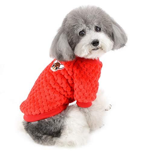 ZUNEA Suéter para Perros Pequeños Invierno Cálido Abrigo Jersey Forro Polar Muy Suave Ropa Mascotas Cachorros Clima Frío Ropa para Gatos Chihuahua Perro Niños Niñas Rojo L