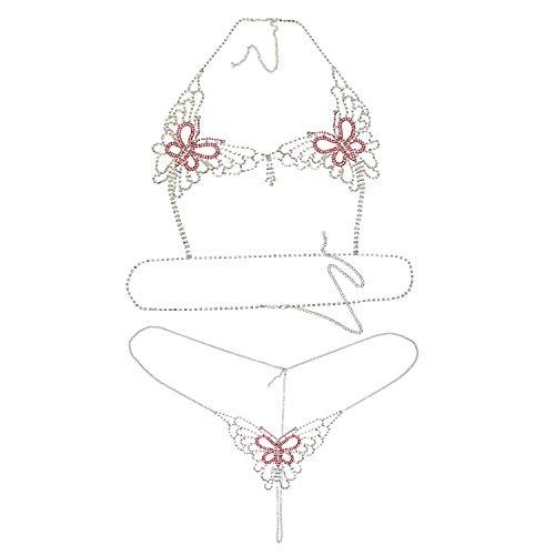 2 unids mariposa sujetador ropa interior conjunto sexy joyería cuerpo cadena Rhinstone mujeres bikini
