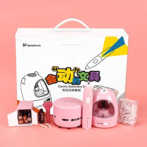 Zuimeng Kreative Coloration Elektro Anspitzer Student Office Malerei Briefpapier-Geschenk Box Set Lsuxianfesdngd (Color : Pink)