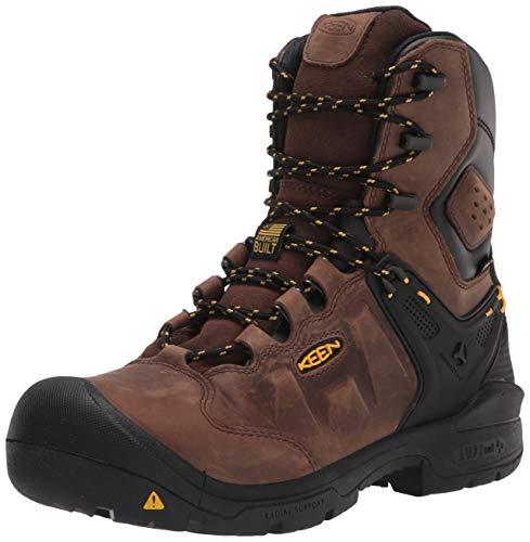 """KEEN Utility Men's Dover 8"""" Composite Toe Waterproof Work Boot, Dark Earth/Black, 7.5 Wide US"""