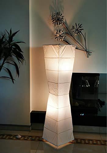Trango 1209 Modern Design Stehlampe *HANDMADE* Reispapier Lampe in Weiß Eckig mit kurvigen Form *LADY* Stehleuchte 125cm Hoch, Wohnzimmer Deko Lampe, Stehlampe mit Lampenschirm