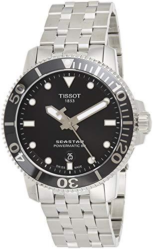 Relógio masculino Tissot Seastar 660/1000 suíço automático aço inoxidável, cinza, 21 casual (modelo: T1204071105100)