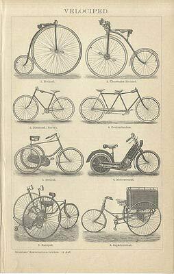 Kunstdruck Velociped Fahrräder Dreirad Tandem Niederrad Hochrad Manuped Brockhaus 0304