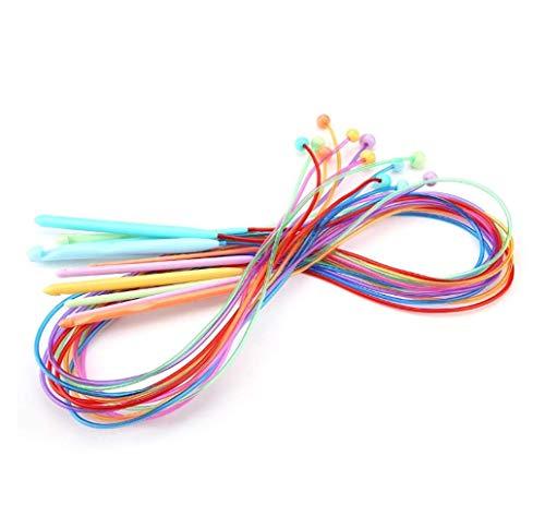 Shuny Agujas de Punto de Ganchillo Afgano tunecino, Agujas de Ganchillo, Conjunto de Herramientas de Ganchillo Accesorios 12 unids/Set, para Alfombra afgana Crochet
