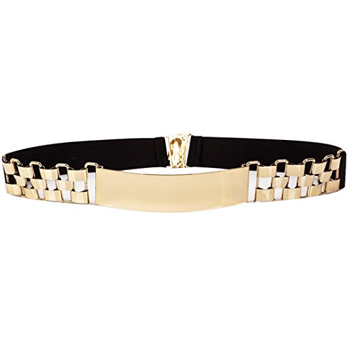 AiSi Damen spiegelter Fashion Metall Gürtel Kettengürtel Taillengürtel Hüftgurt,Ideal für Kleid, Schwarz