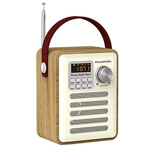 JUSTDOLIFE draadloze luidspreker, multifunctioneel, retro, houten draagbare FM-radiomusieluidspreker