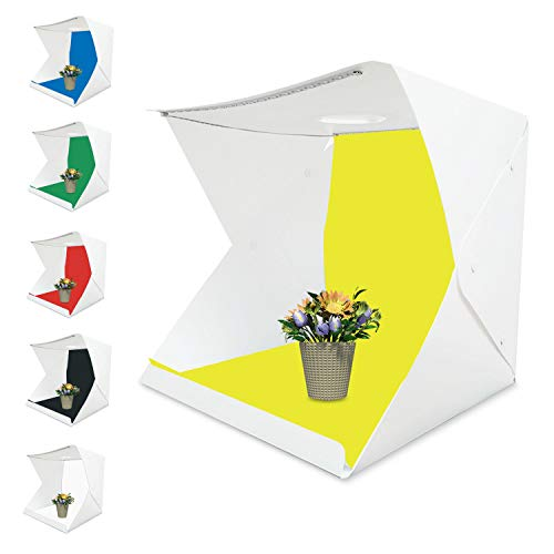 Tumax Tragbares Fotostudio Schießzelt, Fotostudio 42×41×40cm,Kleine Faltbare LED Lichtbox Softbox Kit mit 6 Farben Backdrops für Fotografie,Faltbare Foto Studio Zelt